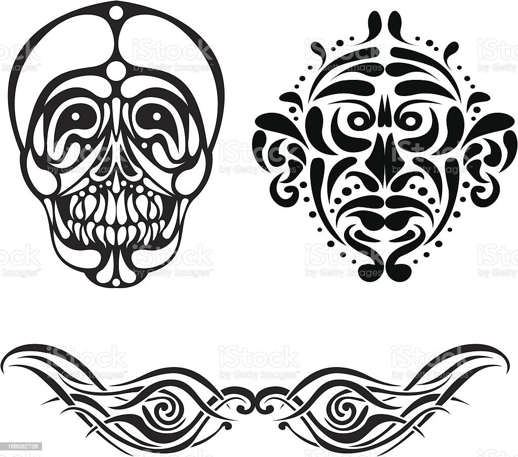 Set of black tattoo royalty-free stock vector art