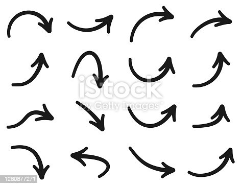 Set of black thin isolated arrows on white background. Vector illustration.