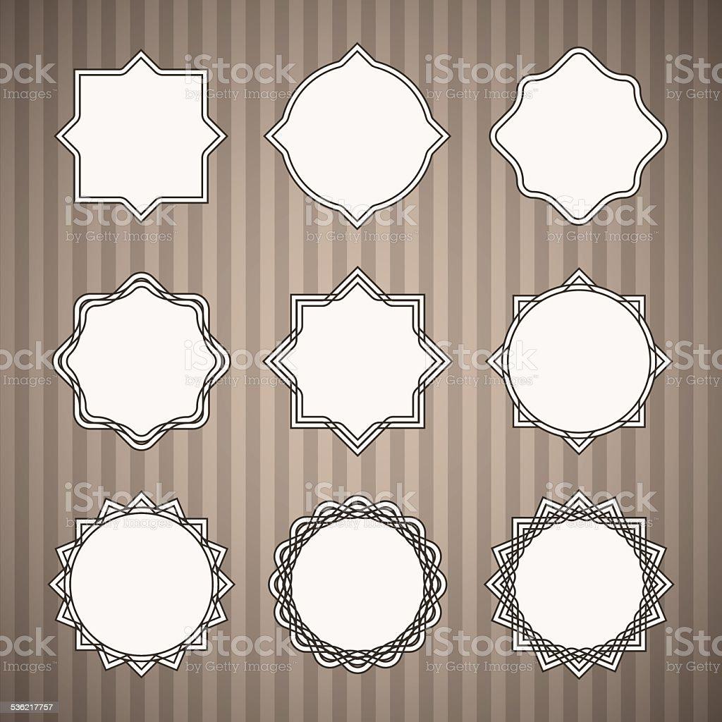 Set of Black Thin Line Vintage Frames with White Backing vector art illustration
