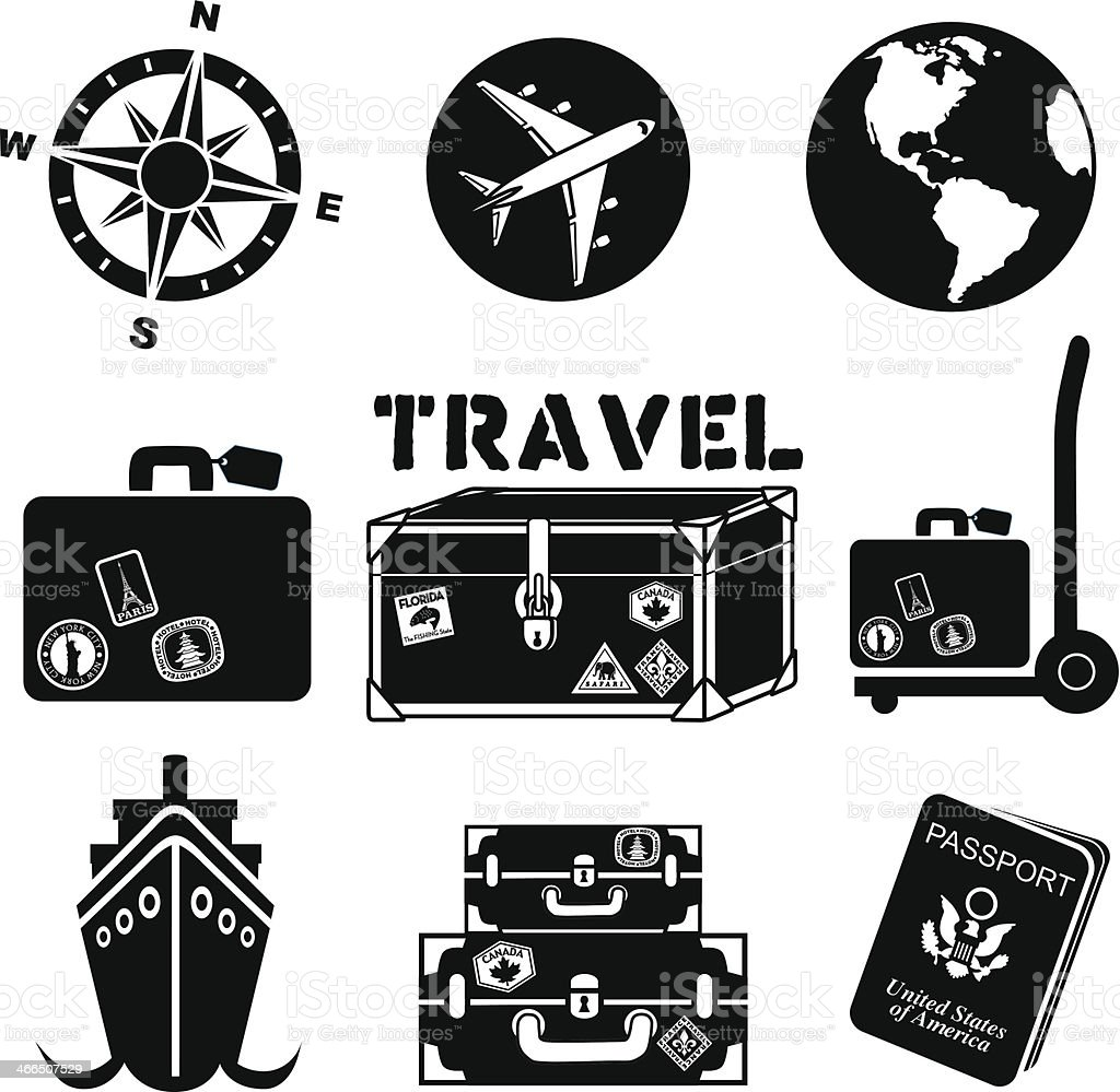 Set of black travel icons with planes luggage and a passport vector art illustration
