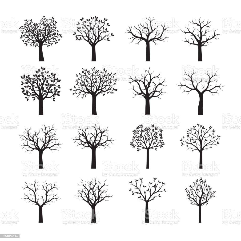 Set of Black Trees. Vector illustration. royalty-free set of black trees vector illustration stock illustration - download image now