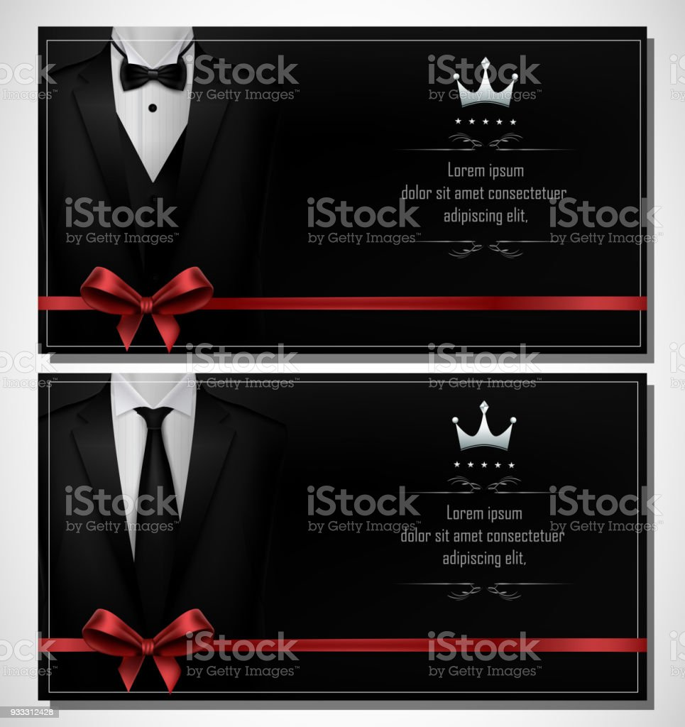 Set Of Black Tuxedo Business Card Templates With Mens Suits And Place For Text Stock Illustration Download Image Now Istock