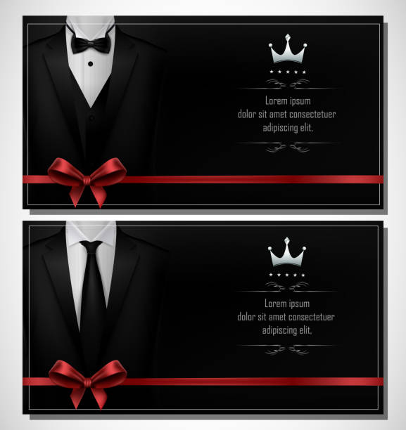 Set of Black tuxedo business card templates with men's suits and place for text Vector illustration of Set of Black tuxedo business card templates with men's suits and place for text formalwear stock illustrations