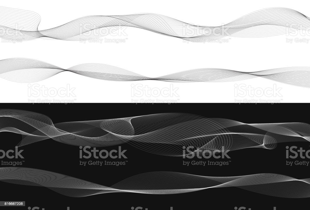 Set of black twist curved lines abstract wave isolated on white background, Vector