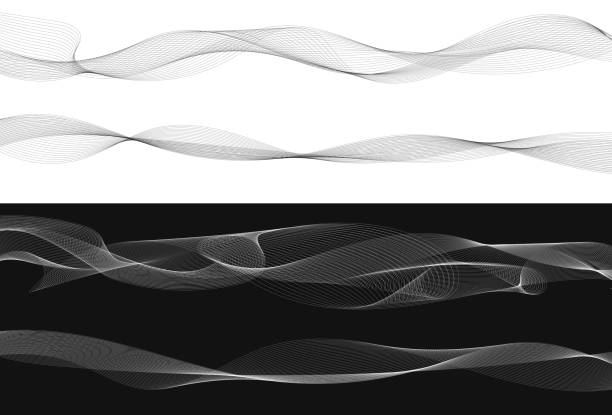 satz von schwarz twist geschwungene linien abstrakt welle isoliert auf weißem hintergrund, vektor - verdreht stock-grafiken, -clipart, -cartoons und -symbole
