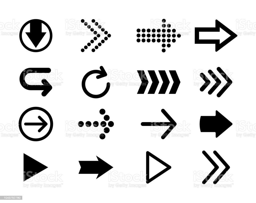 Conjunto de setas vector preto. Ícone de seta. Ícone de seta vector. Seta. Coleção de vetores de flechas. - ilustração de arte em vetor
