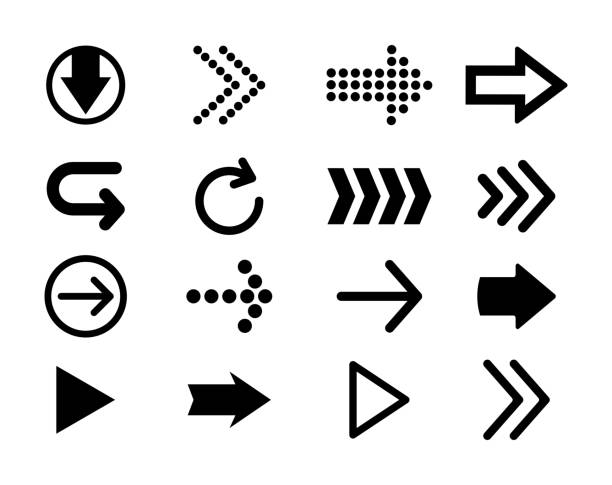 set of black vector arrows. arrow icon. arrow vector icon. arrow. arrows vector collection. - arrows stock illustrations