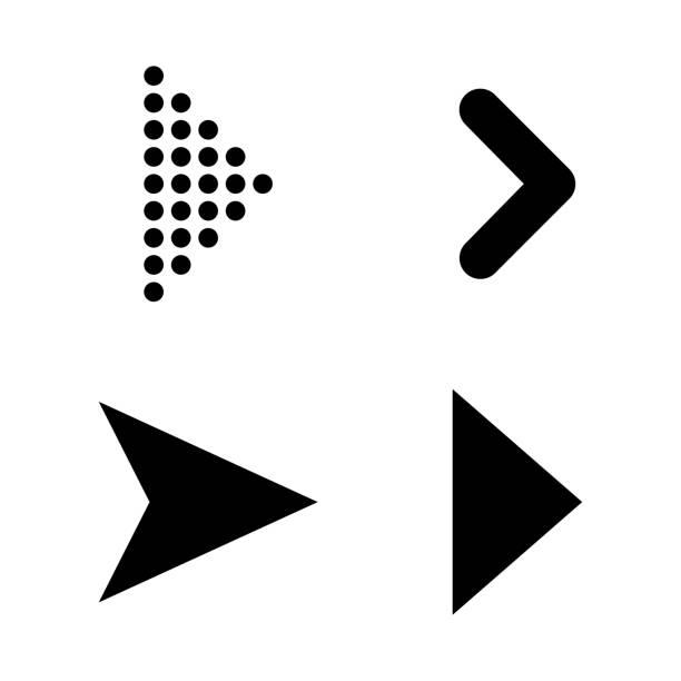 illustrazioni stock, clip art, cartoni animati e icone di tendenza di set of black vector arrows. arrow icon. arrow vector icon. arrow. arrows vector collection - mancino