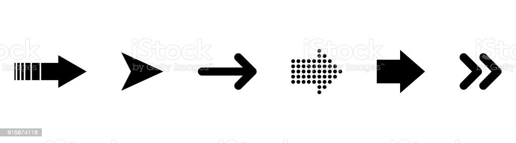 黑色向量箭頭的集合。箭頭向量集合向量藝術插圖