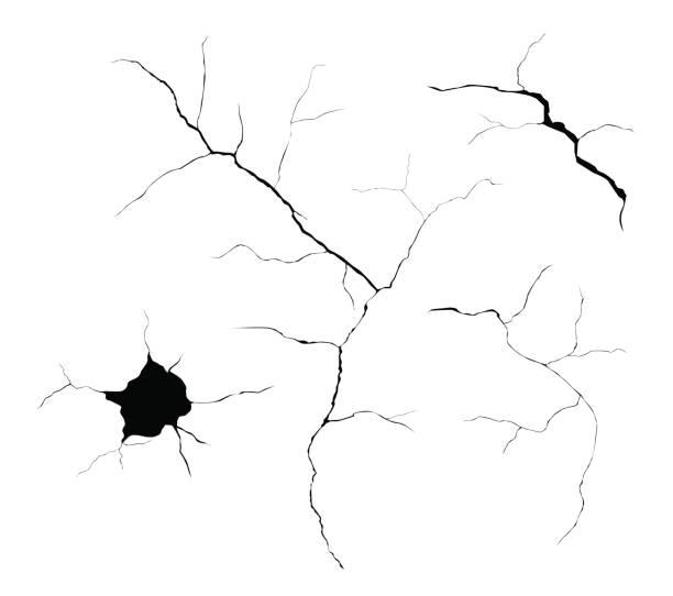 ilustrações, clipart, desenhos animados e ícones de conjunto de vetor preto rachaduras e buracos isolados no fundo branco - texturas de riscos
