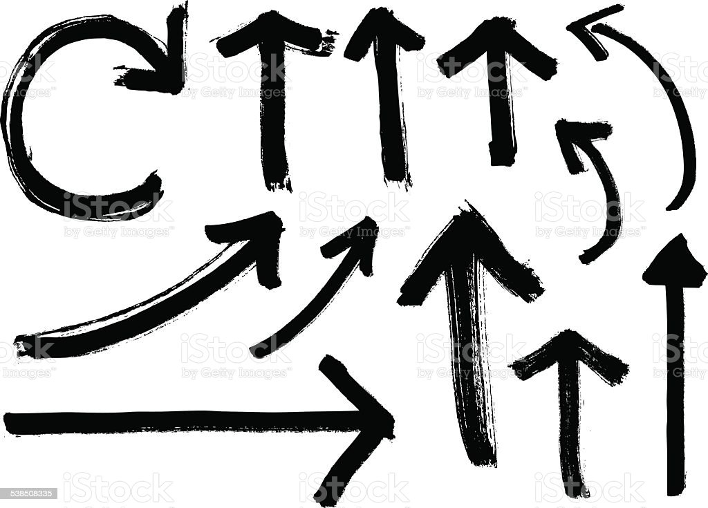 Set of Black Vector Grunge Arrows vector art illustration