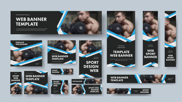 set of black vector web banners of different sizes with intersecting ribbons. - banner ads templates stock illustrations