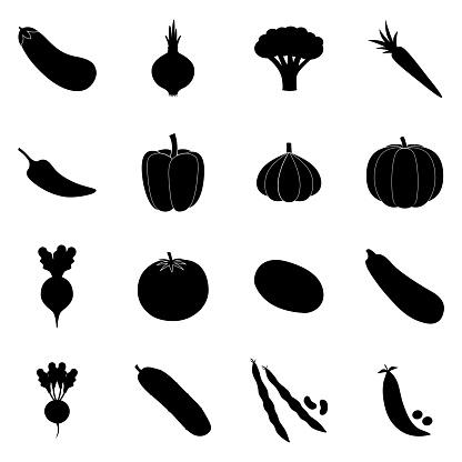 Set of black vegetable icons, vector illustration