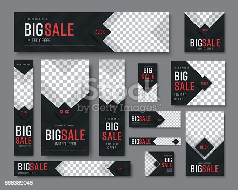 set of vector  black web banners of standard sizes for sale with a place for photos. Vertical and horizontal templates with arrows and a diamond-shaped button.