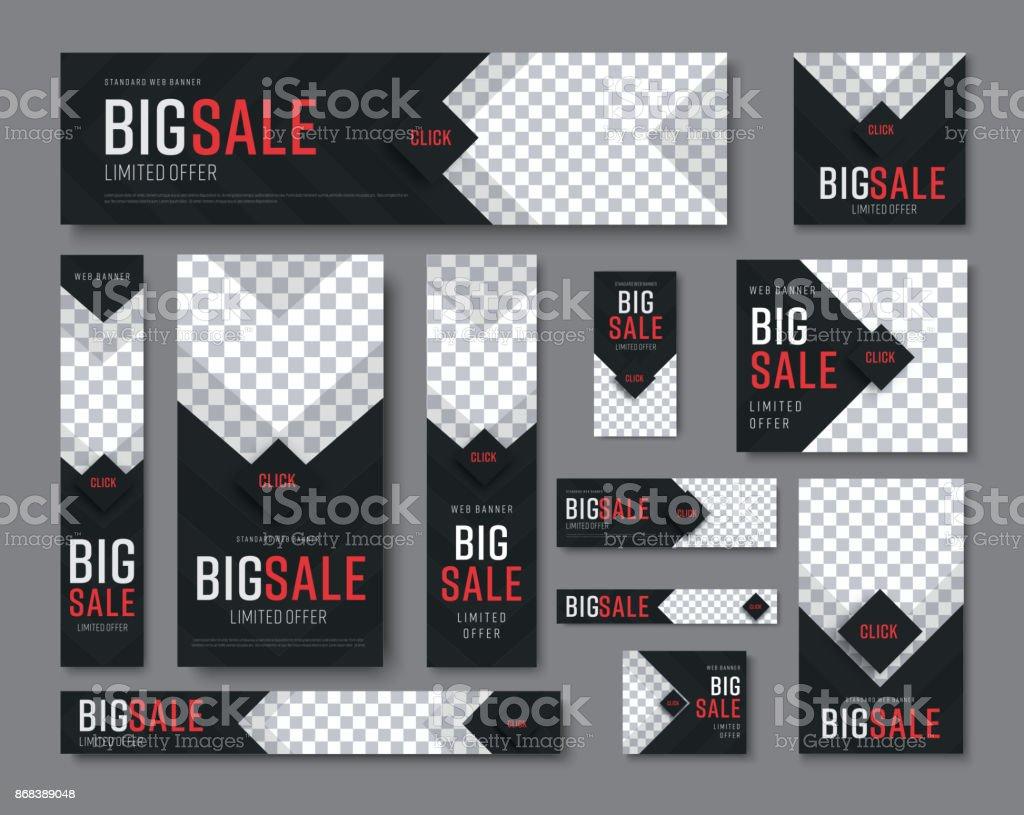 Satz von Schwarz Webbanner Standardgrößen für Verkauf mit einem Platz für Fotos – Vektorgrafik