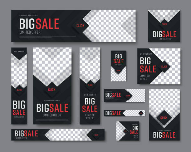 set of black web banners of standard sizes for sale with a place for photos - banner ads templates stock illustrations