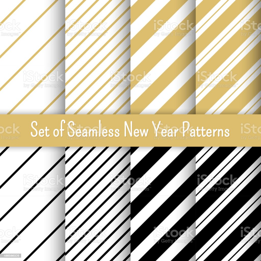 Set of black, white and gold seamless New Year party vector art illustration