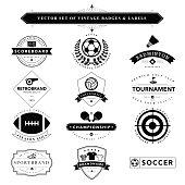 Set of black & white vintage badges and labels