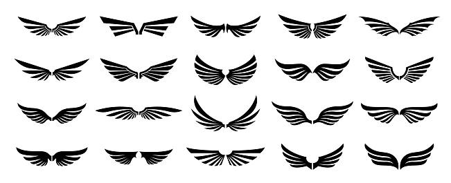 Set of black wings logos or icons.