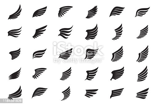 Set of black Wings. Vector Illustration and outline Icons.