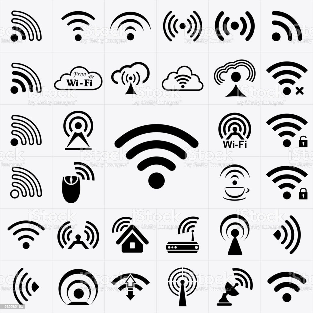 Set of black wireless and wifi icons vector art illustration