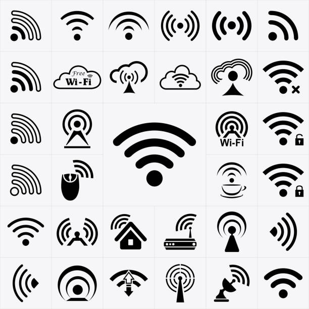 set of black wireless and wifi icons - wireless technology stock illustrations, clip art, cartoons, & icons