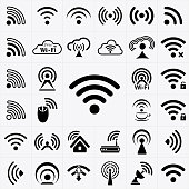 Set of black wireless and wifi icons
