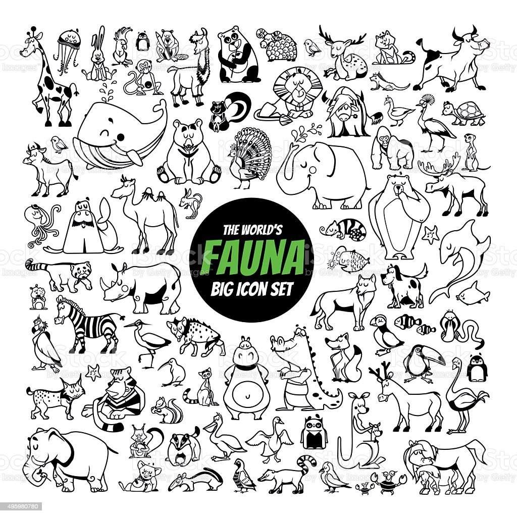 Set of black-and-white animals of the world vector art illustration