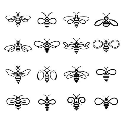 Set of black-and-white bees logos