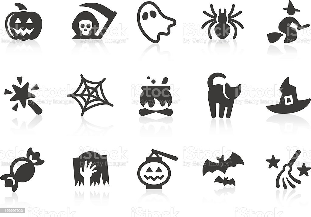 Set of black-and-white Halloween icons vector art illustration
