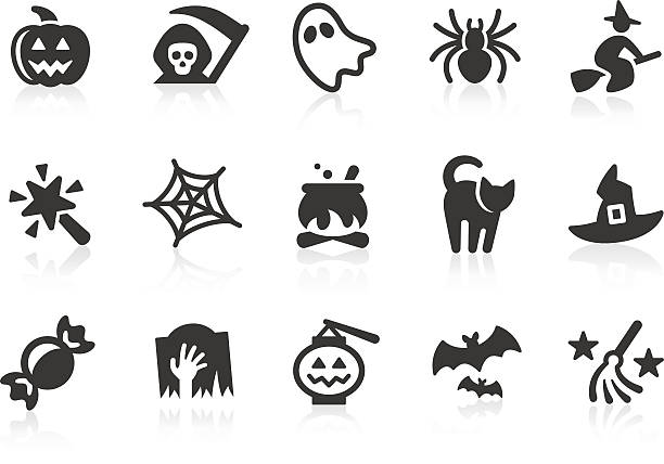 Set of black-and-white Halloween icons Simple Halloween related vector icons for your design and application. Files included: vector EPS, JPG, PNG. ghost icon stock illustrations