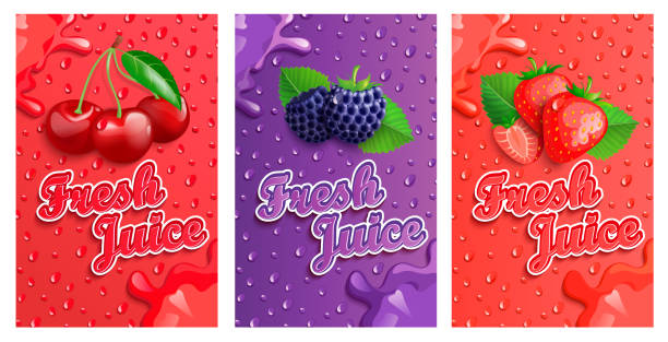 Set of blackberry, cherry and strawberry fresh juice banner. Set of blackberry, cherry and strawberry fresh juice banner with splash. Template for brand, label, emblem, store, packaging, advertising, poster.Vector illustration of healthy juicy vitamin drink. cherry stock illustrations