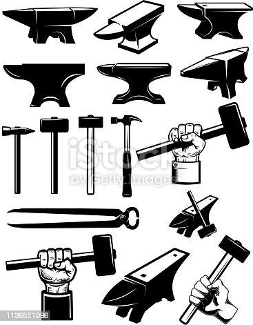 Set of blacksmith design elements. Anvil, hammers, blacksmith tools. For label, sign, badge. Vector illustration