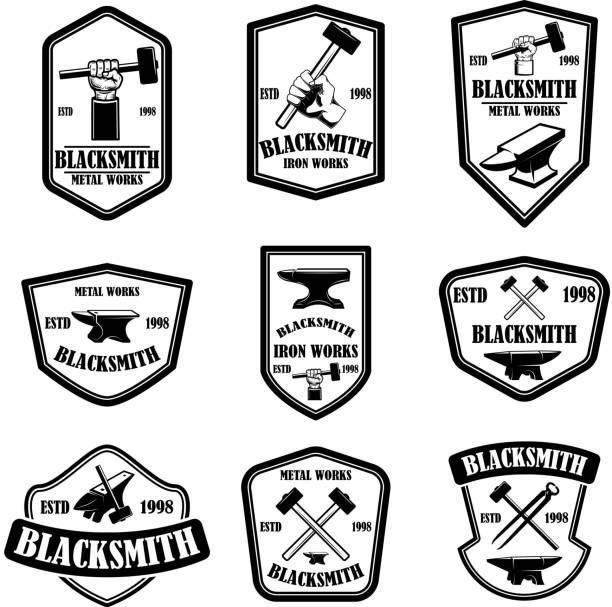 Set of blacksmith emblems. Design element for label, sign, poster, t shirt. vector art illustration