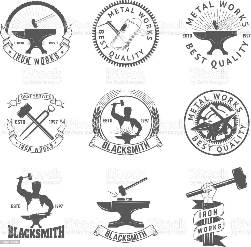 Set of blacksmith, iron works labels, badges and design elements vector art illustration