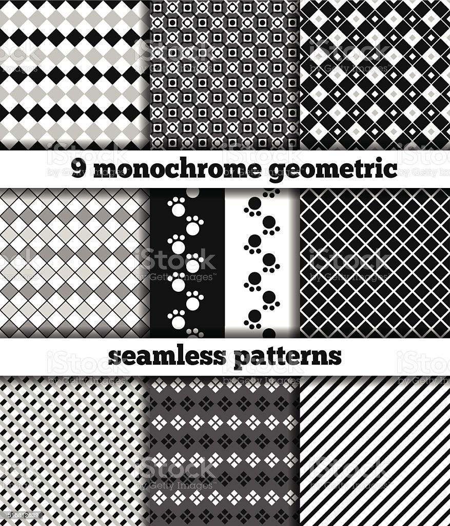 Set of black-white monochrome geometric seamless patterns vector art illustration