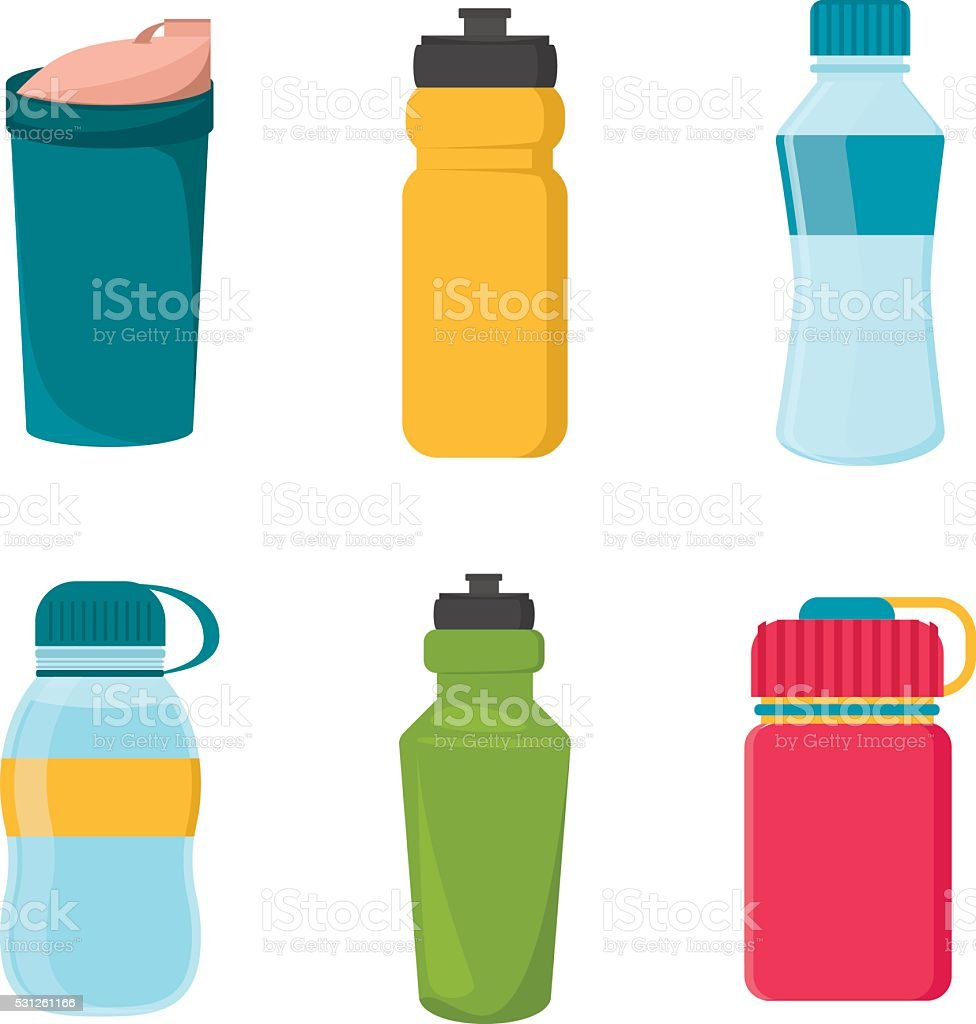 Set of blank bicycle plastic bottles for water vector art illustration