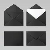 Set of blank black color realistic envelopes mockup