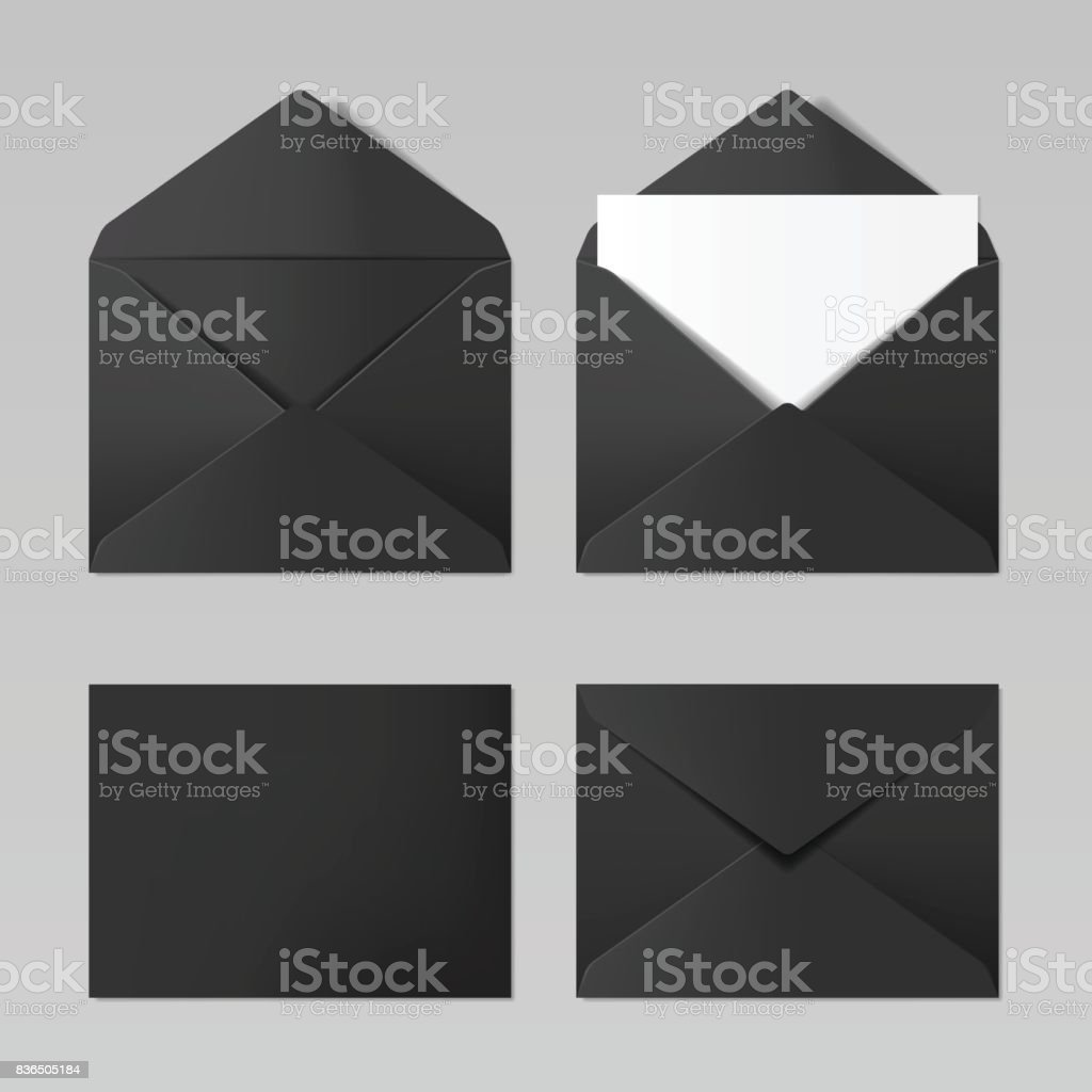 Set of blank black color realistic envelopes mockup vector art illustration
