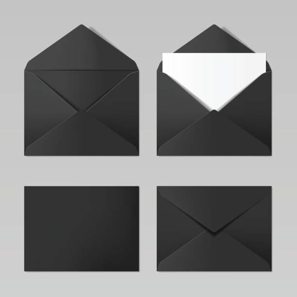 Satz der leere schwarze Farbe realistisch Umschläge mockup – Vektorgrafik