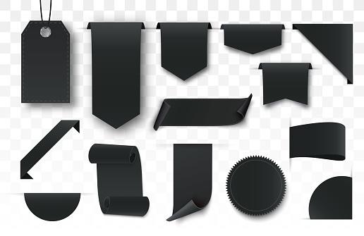 Set of blank black labels. Offer tag. Black friday sale banners.