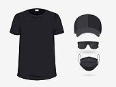 Set of Blank Black T-Shirt, Baseball Cap, Surgical Mask and Sunglasses Isolated on White Background. Mockup for Branding and Advertising Your Company. Black Clothes. Front View. Vector Illustration