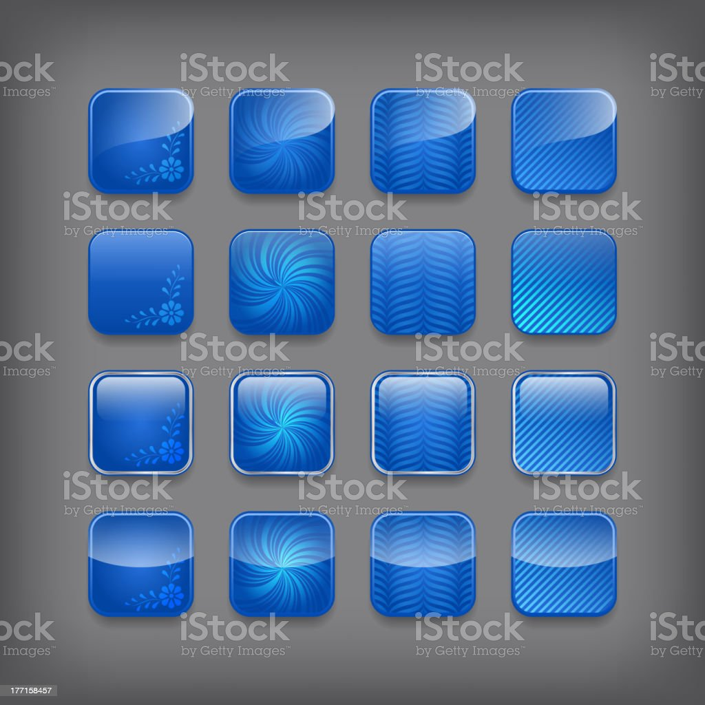 Set of blank blue buttons royalty-free set of blank blue buttons stock vector art & more images of backgrounds