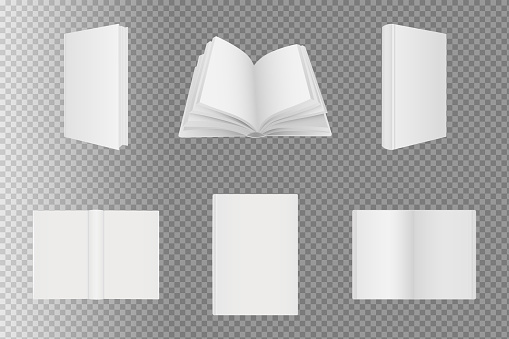 Set of blank book cover template. Book mockup.