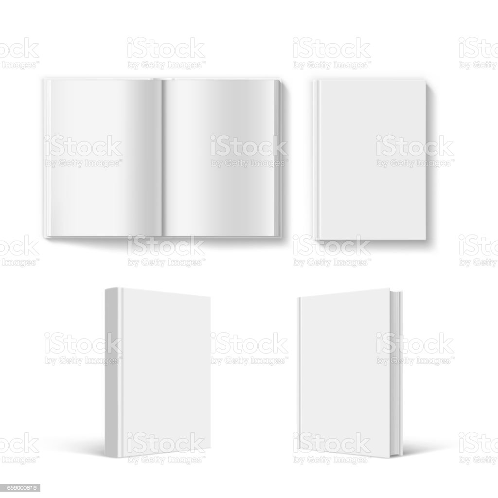 Set of blank book cover template.