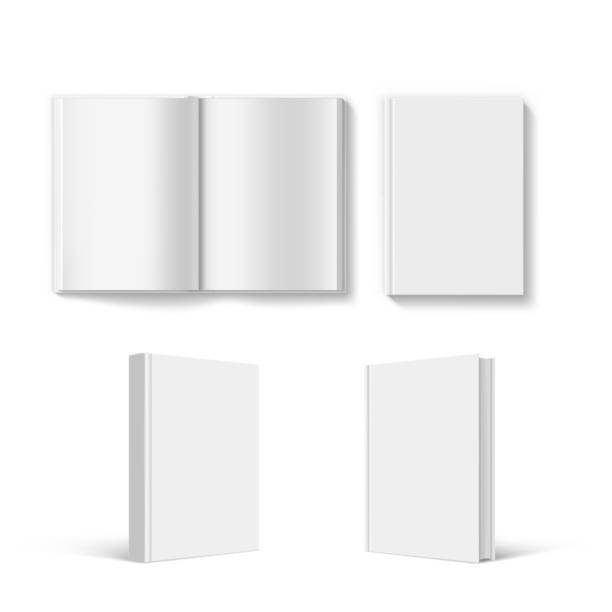 Set of blank book cover template. Set of blank book cover template. Isolated on white background. hardcover book stock illustrations