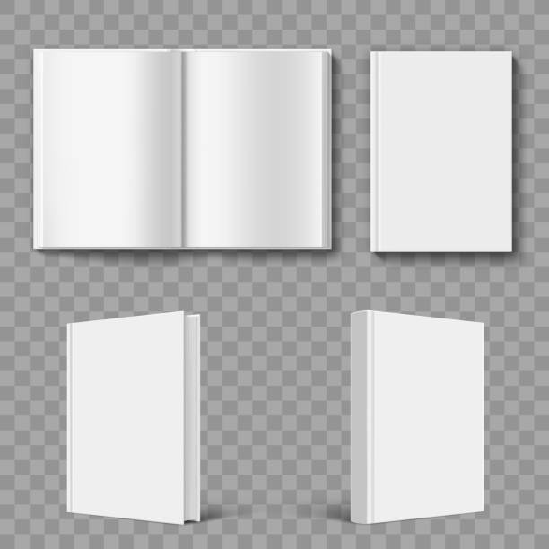 Set of blank book cover template. Set of blank book cover template. Isolated on transparent background. Stock vector illustration. hardcover book stock illustrations