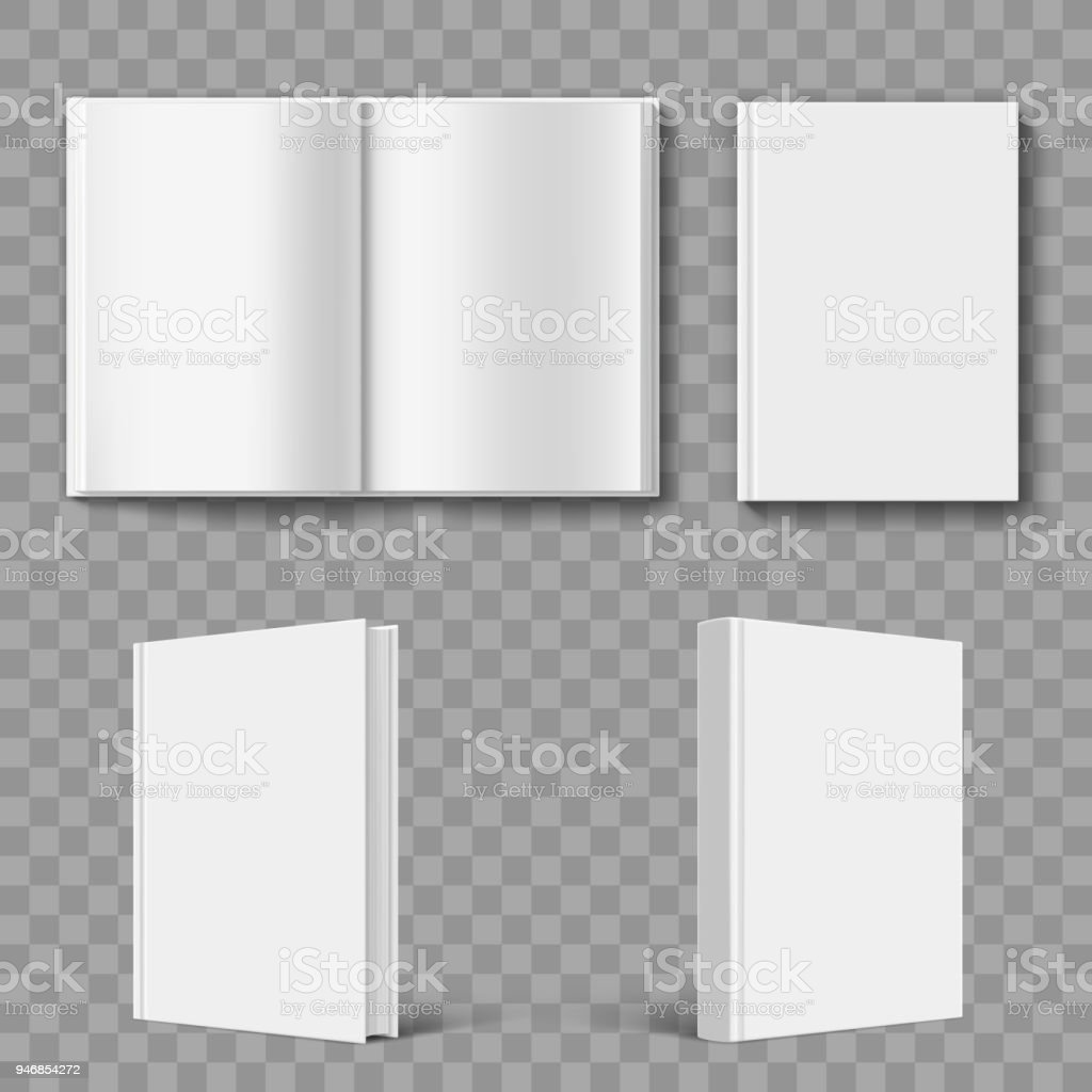 Set of blank book cover template. vector art illustration