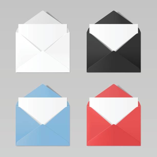Satz der leere Farbe realistisch Umschläge Mockup: weiß, schwarz, blau, rot – Vektorgrafik