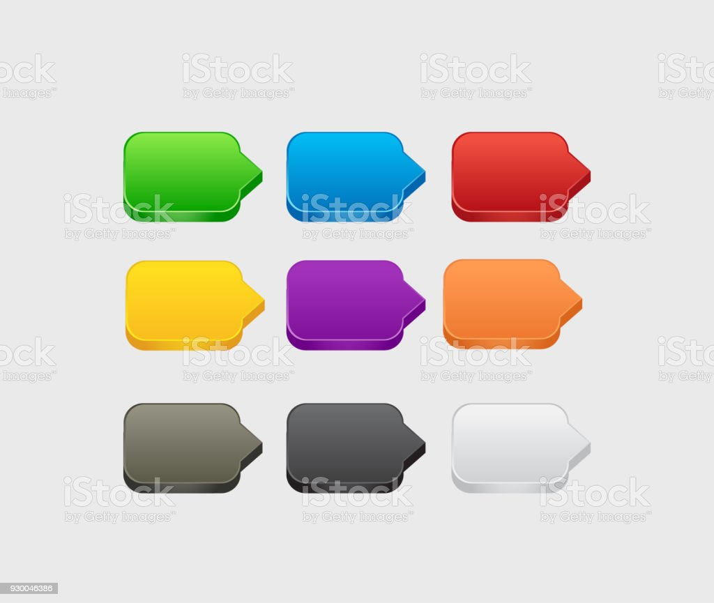 Set Of Blank Colorful 3d Square Buttons For Website Or App